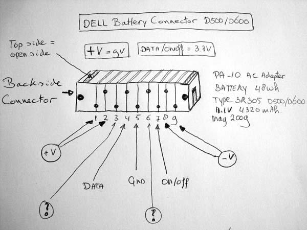 Dell D500 D600 Battery Pinout Dell D500 D600 Battery