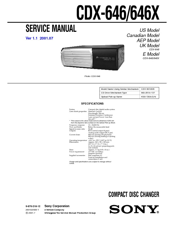 Download CDX-646_646X.pdf Service diagram. Free manual and ...