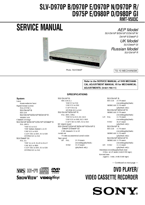 Download SLV-D970P.pdf Service diagram. Free manual and datasheet ...